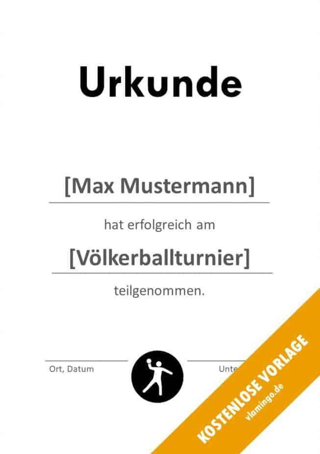 Völkerball Urkunde Vorlage Teilnahme