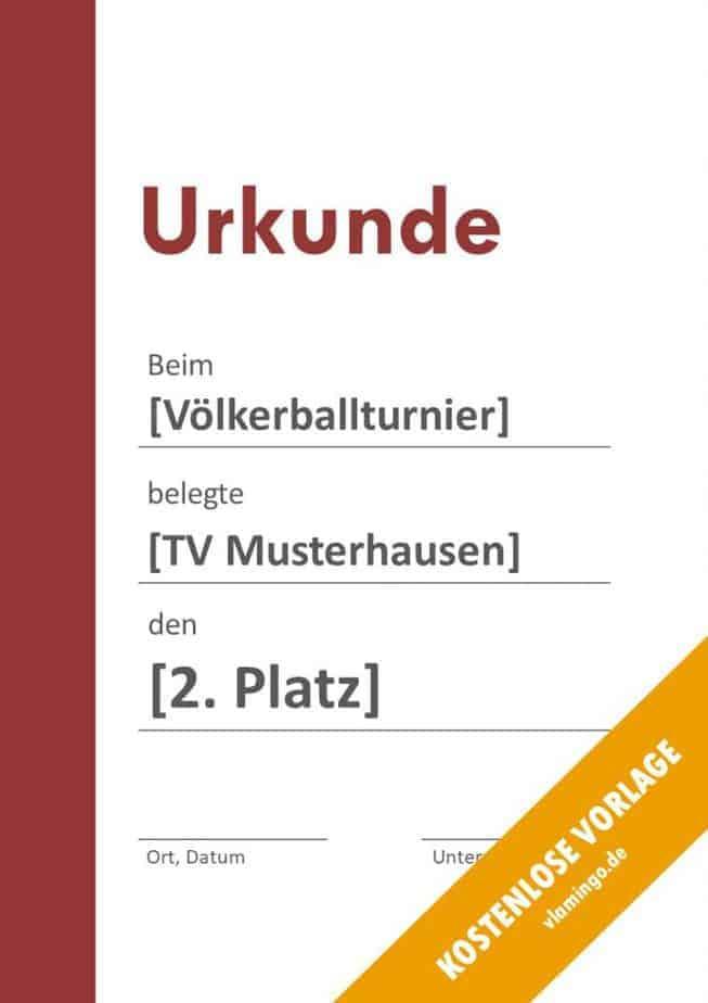 Völkerball Urkunde Vorlage mit Balken 2