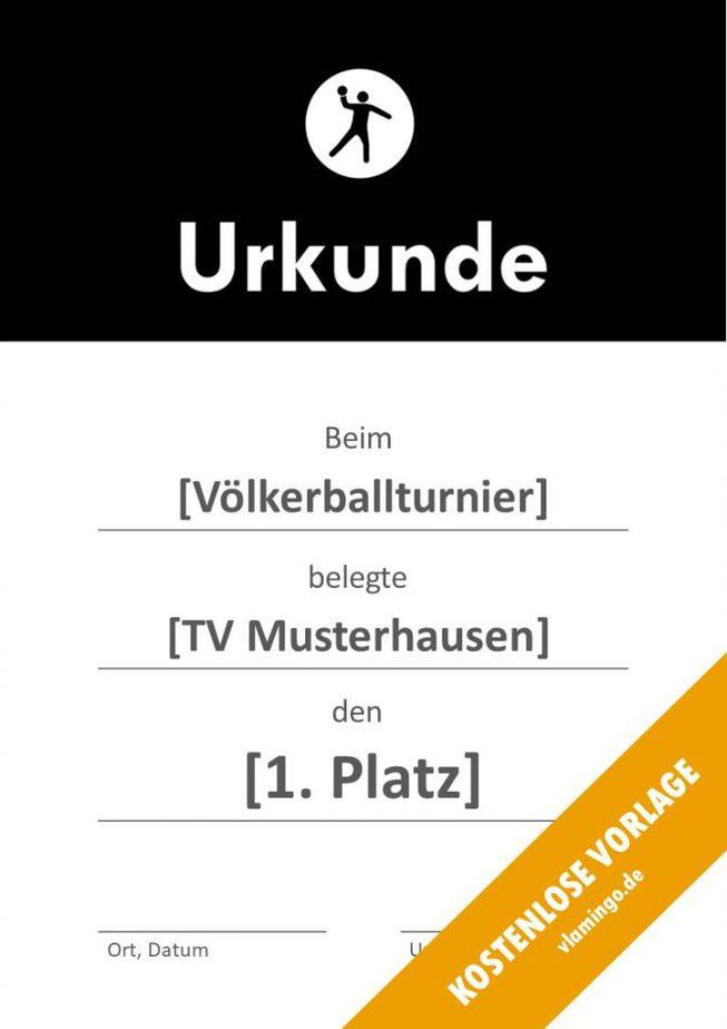 Völkerball Urkunde Vorlage mit Banner 1