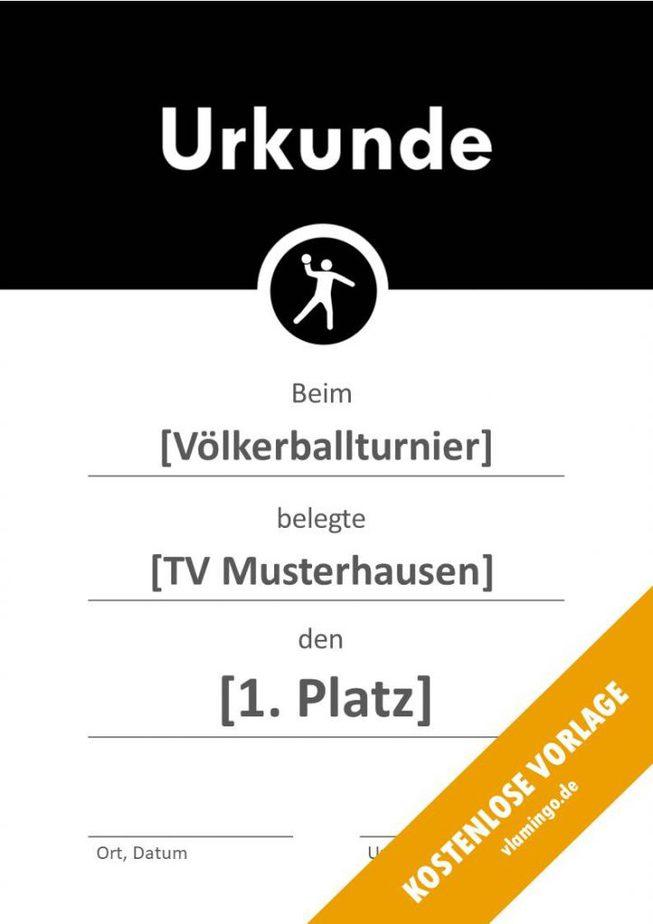 Völkerball Urkunde Vorlage mit Banner 2