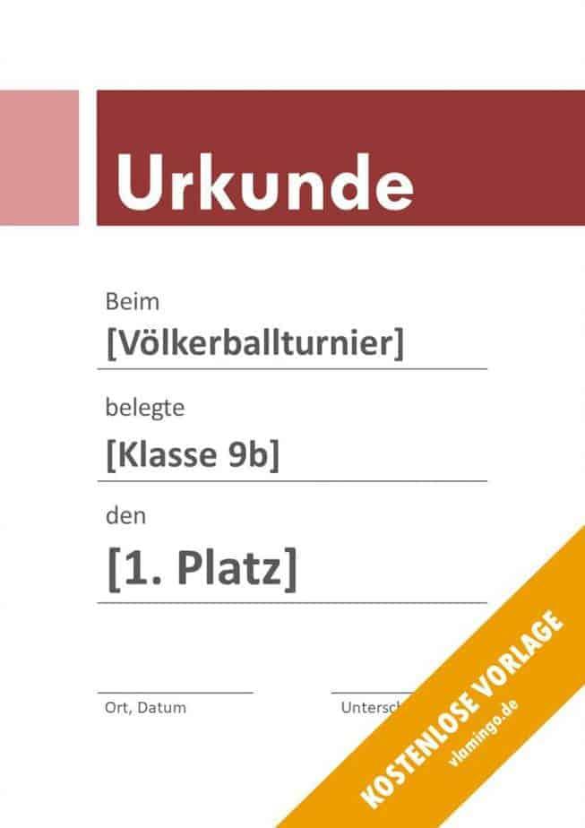 Völkerball Urkunde Vorlage mit Banner 3