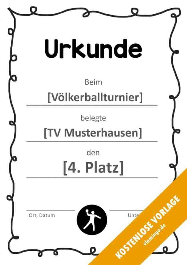 Völkerball Urkunde Vorlage mit Rahmen 1