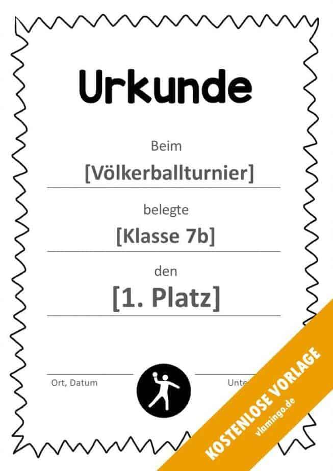 Völkerball Urkunde Vorlage mit Rahmen 3
