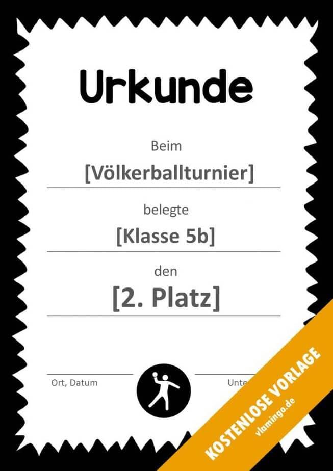Völkerball Urkunde Vorlage mit Rahmen 4