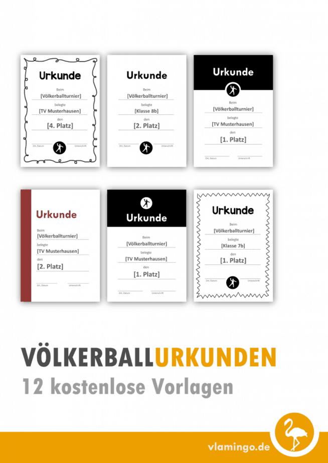 Völkerball - 12 kostenlose Urkunden-Vorlagen