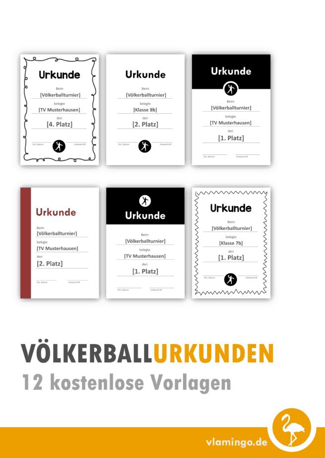 Völkerball Urkunden 12 kostenlose Vorlagen