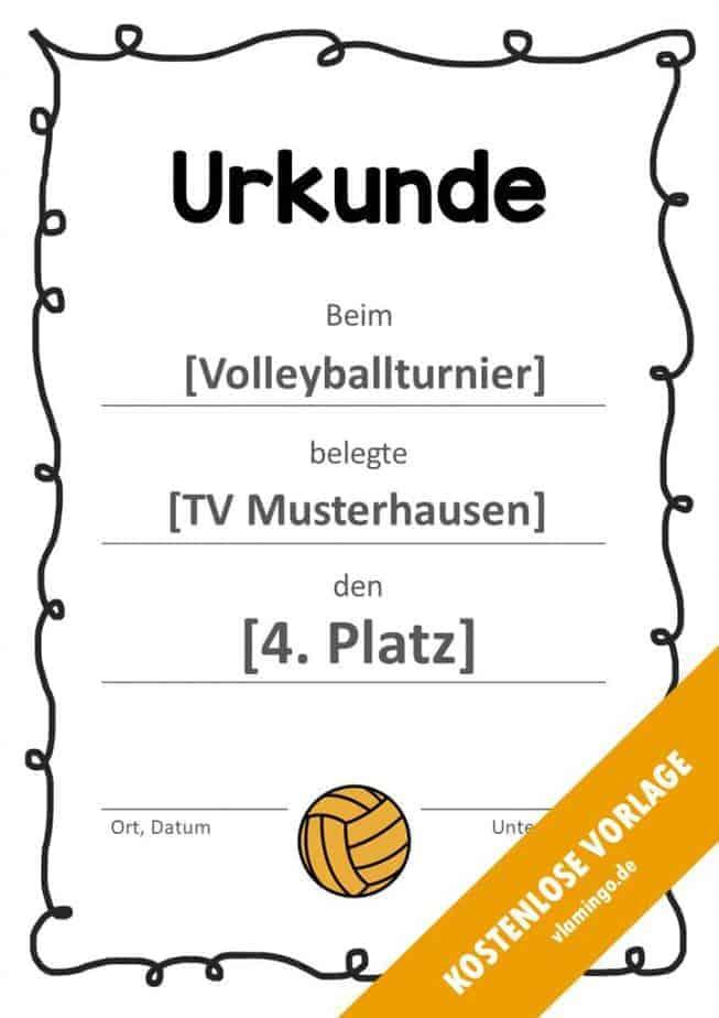 Volleyball - Urkunde (Vorlage): Musterumrandung