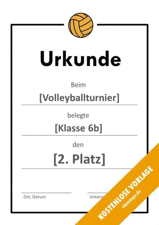 Volleyball - Urkunde (Vorlage): Einfacher Rahmen