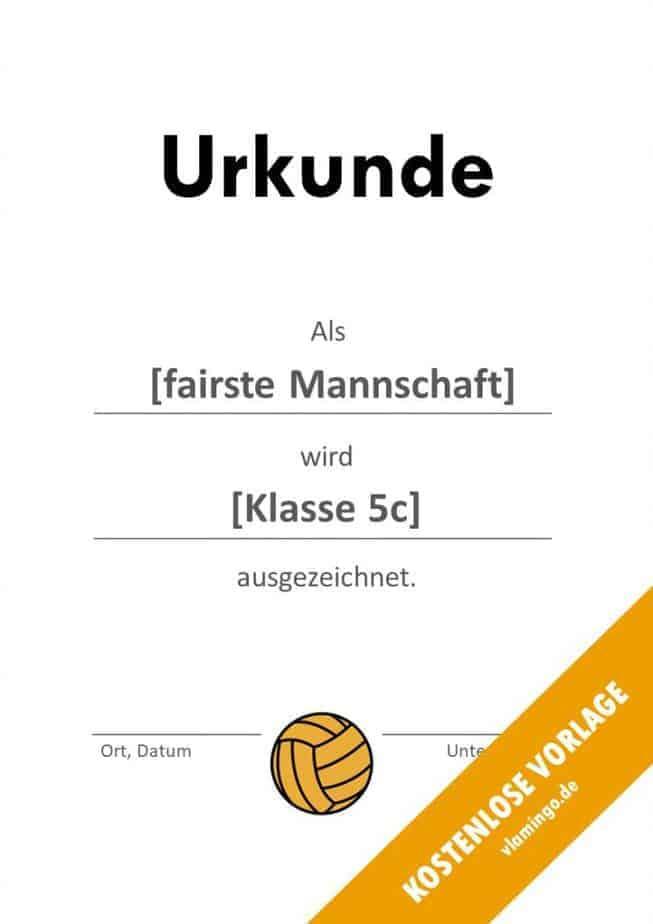 Volleyball - Urkunde (Vorlage): Auszeichnung (Fair-Play)