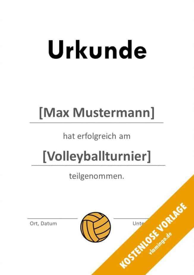 Volleyball - Urkunde (Vorlage): Auszeichnung (Teilnahme)