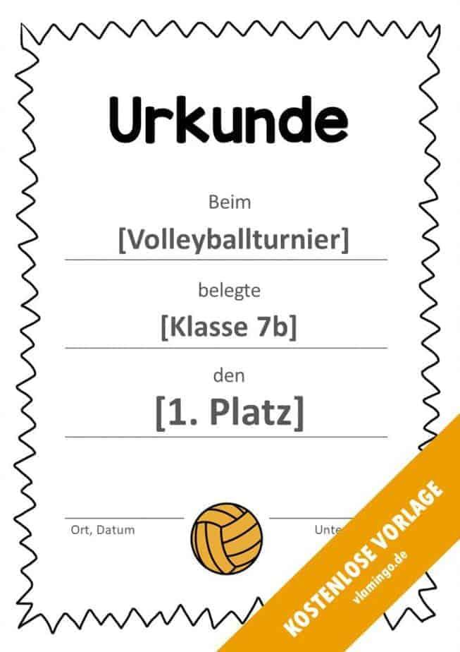 Volleyball - Urkunde (Vorlage): Muster (gezackt)