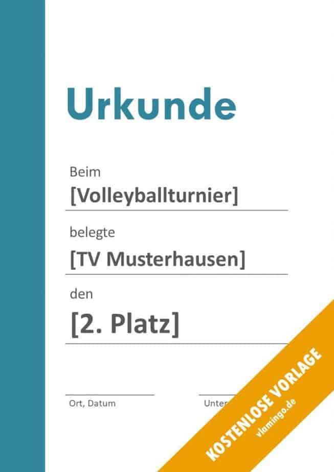 Volleyball - Urkunde (Vorlage): Blauer Balken auf der linken Seite