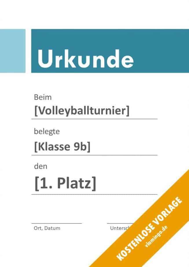 Volleyball - Urkunde (Vorlage): Blauer Banner