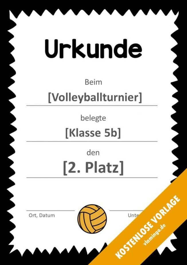 Volleyball - Urkunde (Vorlage): Muster (gezackt