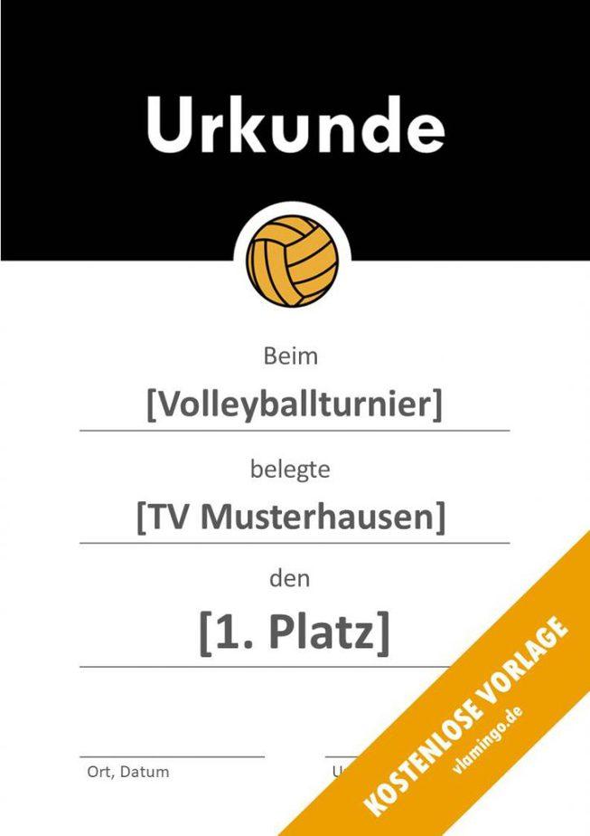 Volleyball - Urkunde (Vorlage): Schwarzer Banner 2