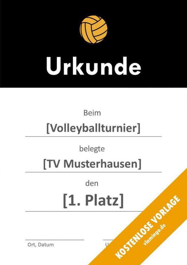 Volleyball - Urkunde (Vorlage): Schwarzer Banner