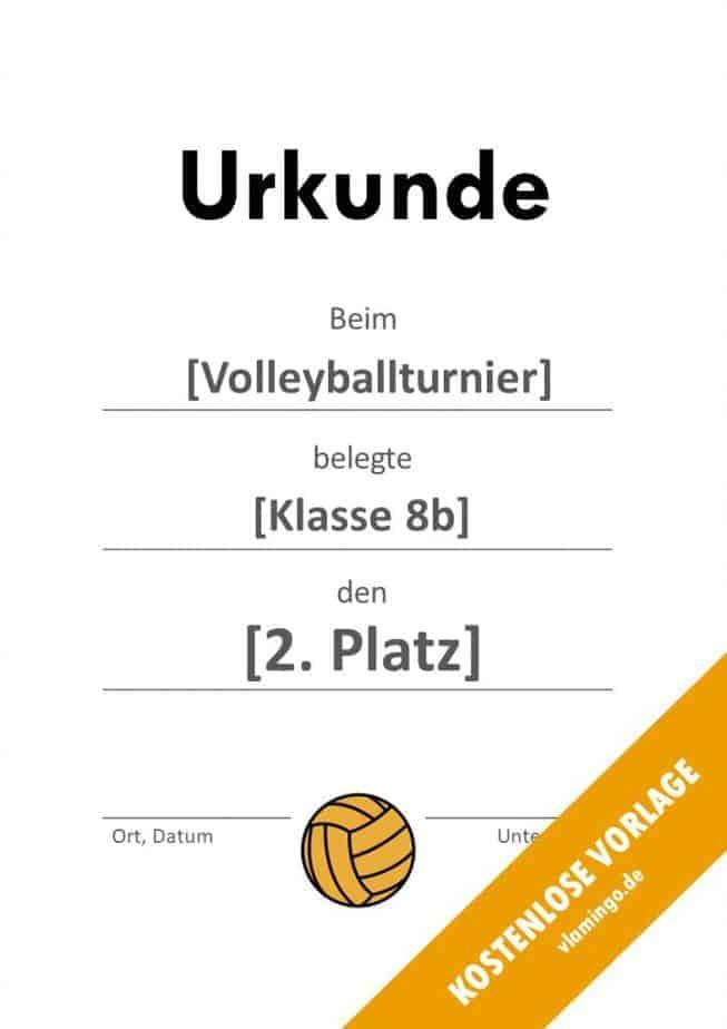Volleyball - Urkunde (Vorlage): Ohne Rahmen