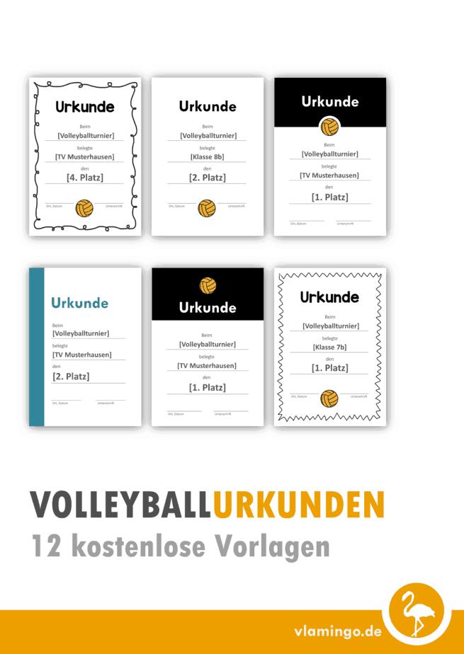 Volleyball-Urkunden - 12 kostenlose Vorlagen