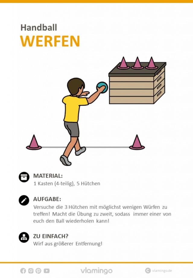 Handball Übung - Hütchen werfen (Wurfübung)