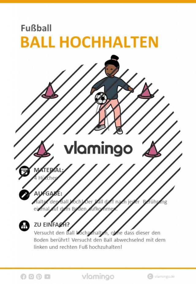 Fußball-Zirkeltraining: Ball hochhalten (Stationskarte)