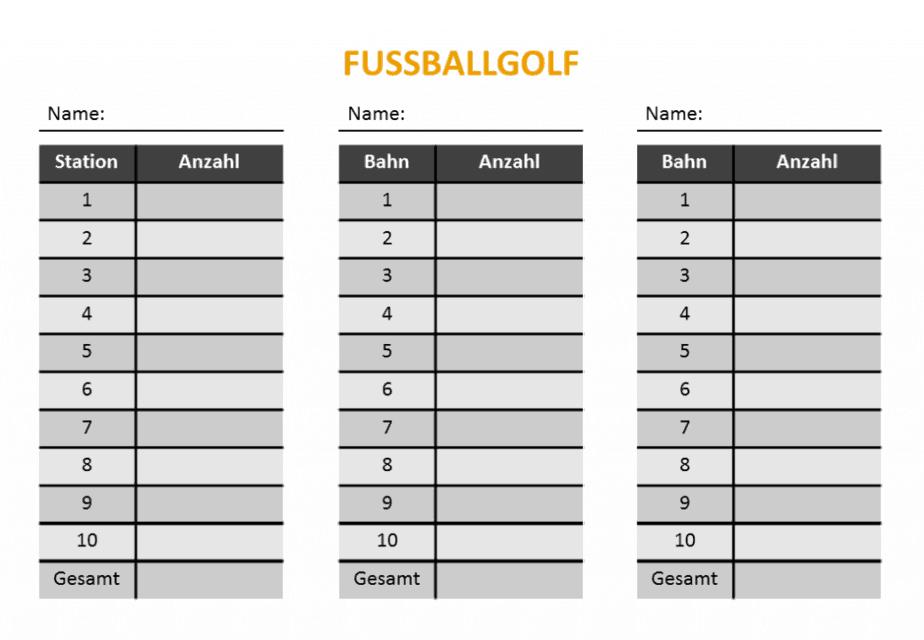 Fußballgolf - Auswertungsbogen - Laufzettel