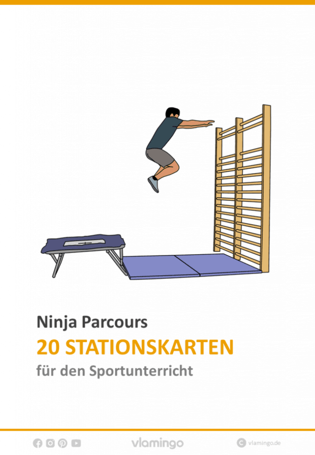 Ninja Parcours (Ninja Warrior) - 20 Stationskarten für den Sportunterricht
