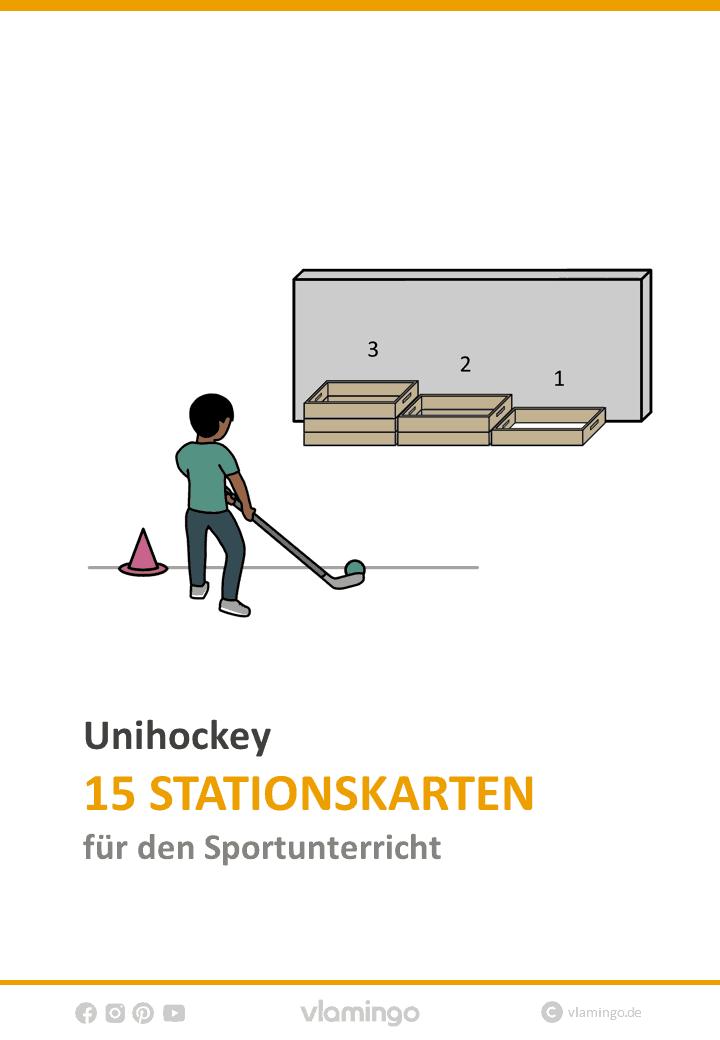 Unihockey 15 Stationskarten für den Sportunterricht