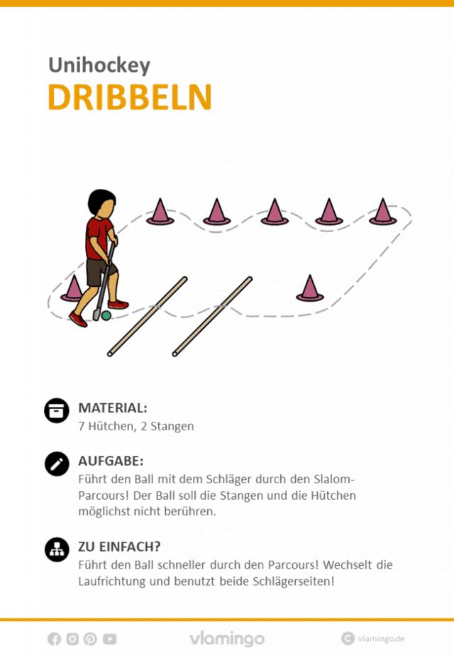 Unihockey Übung - Slalom dribbeln (Stationskarte)