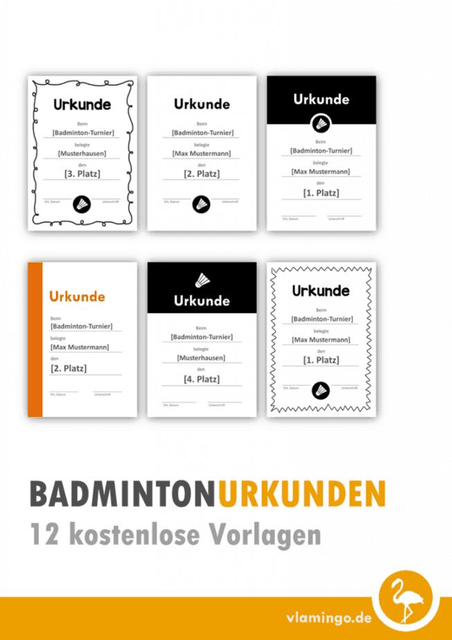 Badminton-Urkunden: 12 kostenlose Vorlagen