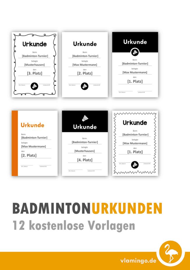 12 Badminton Urkunden Vorlagen
