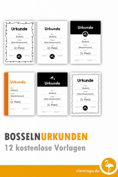 2 Boßeln-Urkunden (Vorlagen)