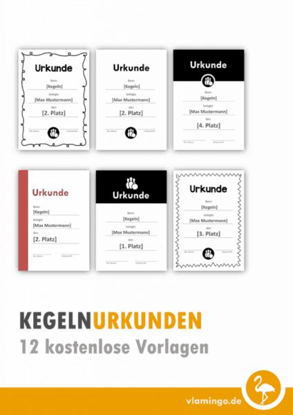 12 Kegel-Urkunden (Vorlagen)