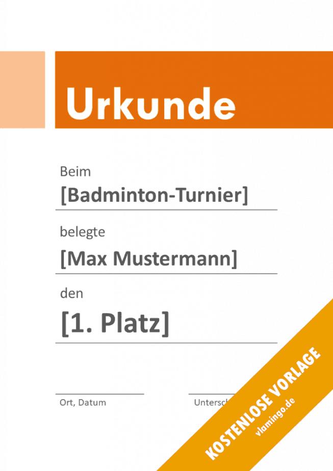 Badminton - Urkunde - Vorlage - Banner 3
