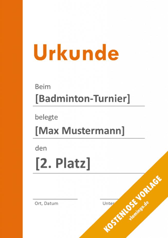 Badminton - Urkunde - Vorlage - Balken 2