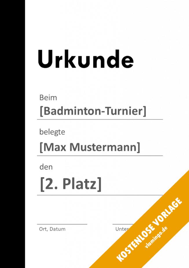 Badminton - Urkunde - Vorlage - Balken 1