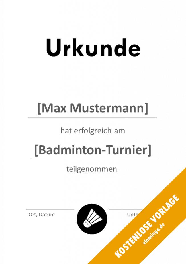 Badminton - Urkunde - Vorlage - Teilnahme