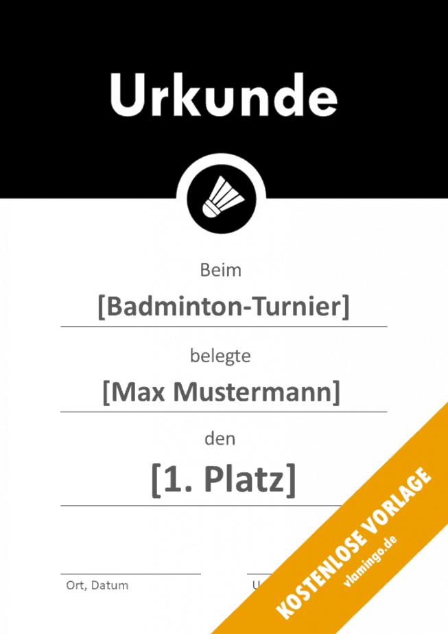 Badminton - Urkunde - Vorlage - Banner 2