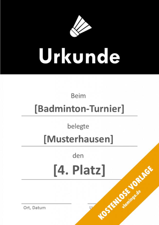 Badminton - Urkunde - Vorlage - Banner 1