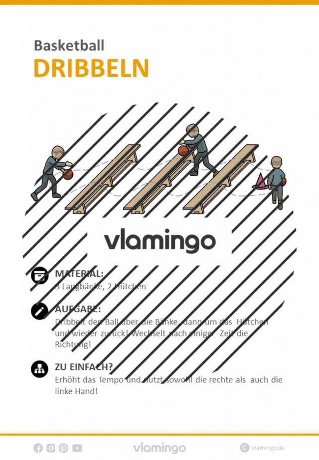 Basketball Übung - Dribbeln über Bänke (Stationskarte)