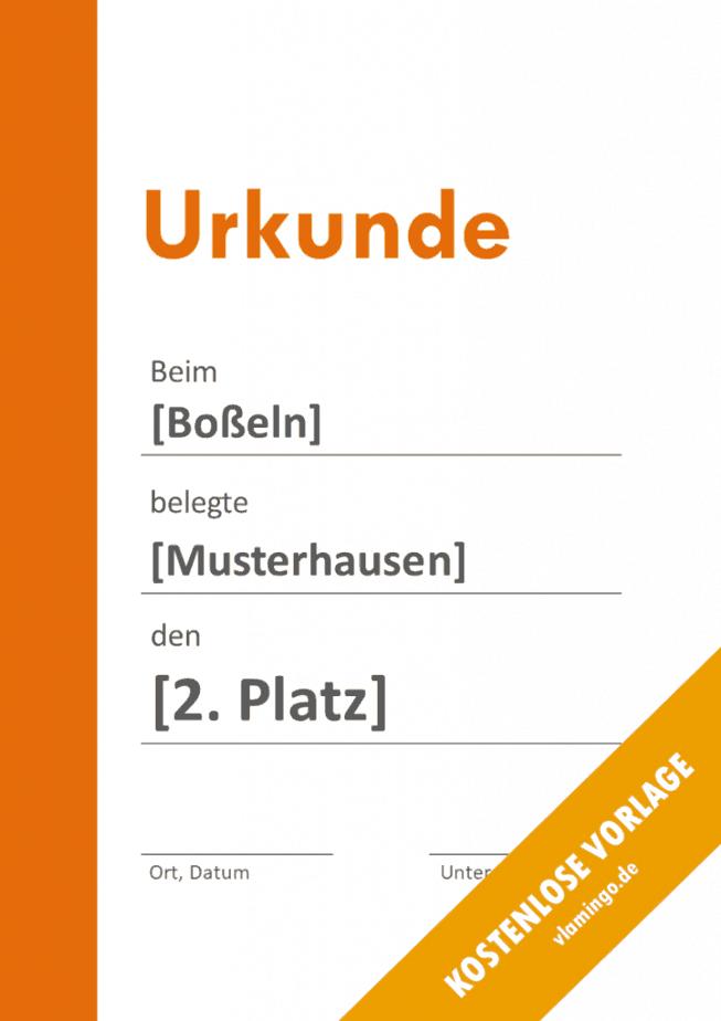 Boßeln - Urkunde - Vorlage - Balken 2