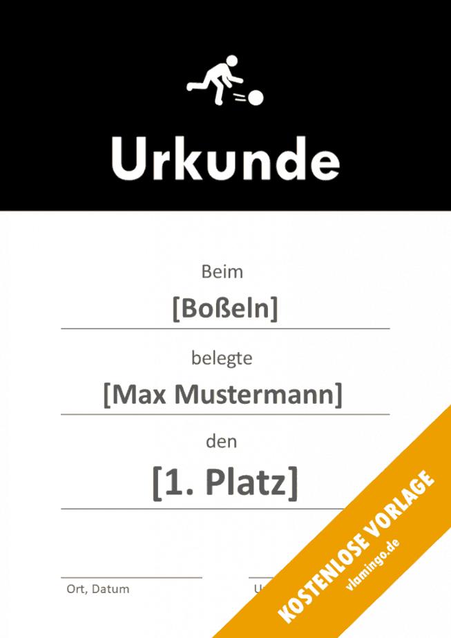 Boßeln - Urkunde - Vorlage - Banner 1