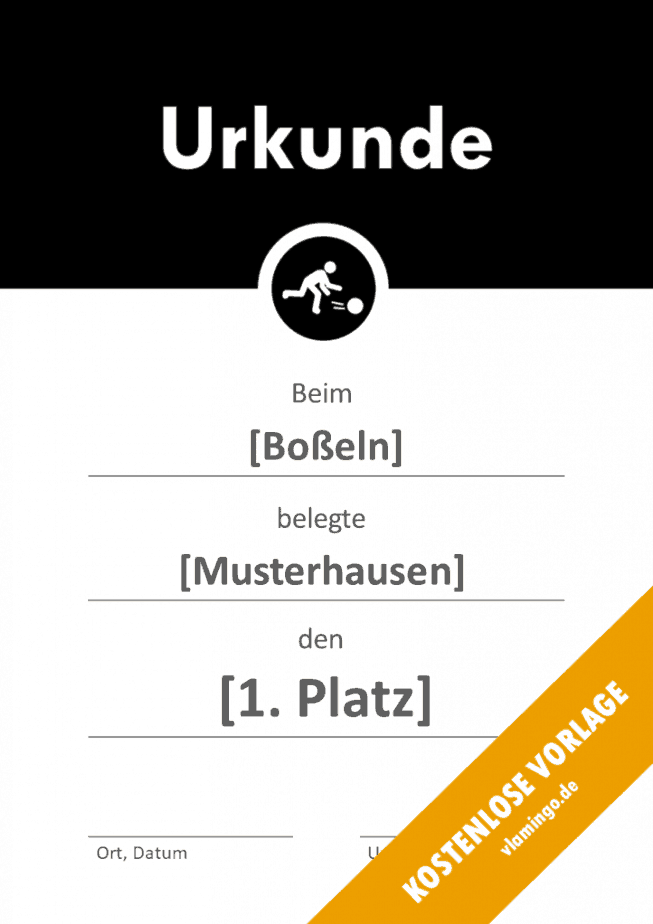 Boßeln - Urkunde - Vorlage - Banner 2