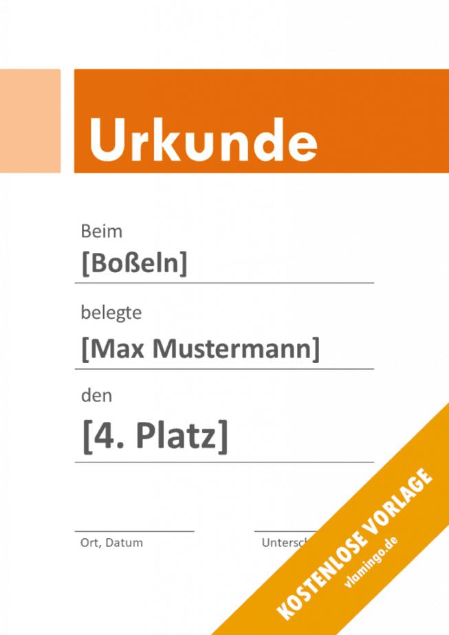 Boßeln - Urkunde - Vorlage - Banner 3