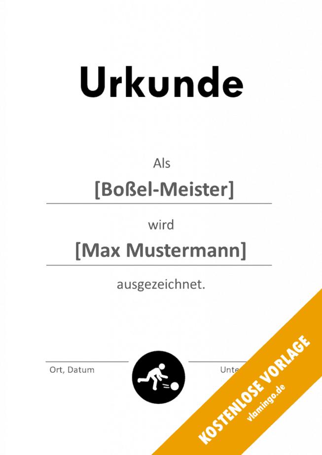 Boßeln - Urkunde - Vorlage - Auszeichnung