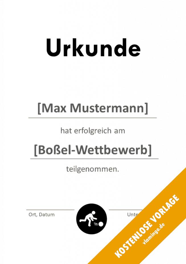 Boßeln - Urkunde - Vorlage - Teilnahme