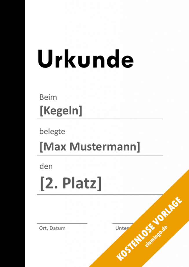 Kegeln - Urkunde - Vorlage - Balken 1