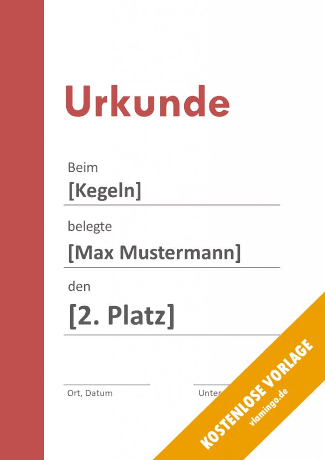 Kegeln - Urkunde - Vorlage - Balken 2