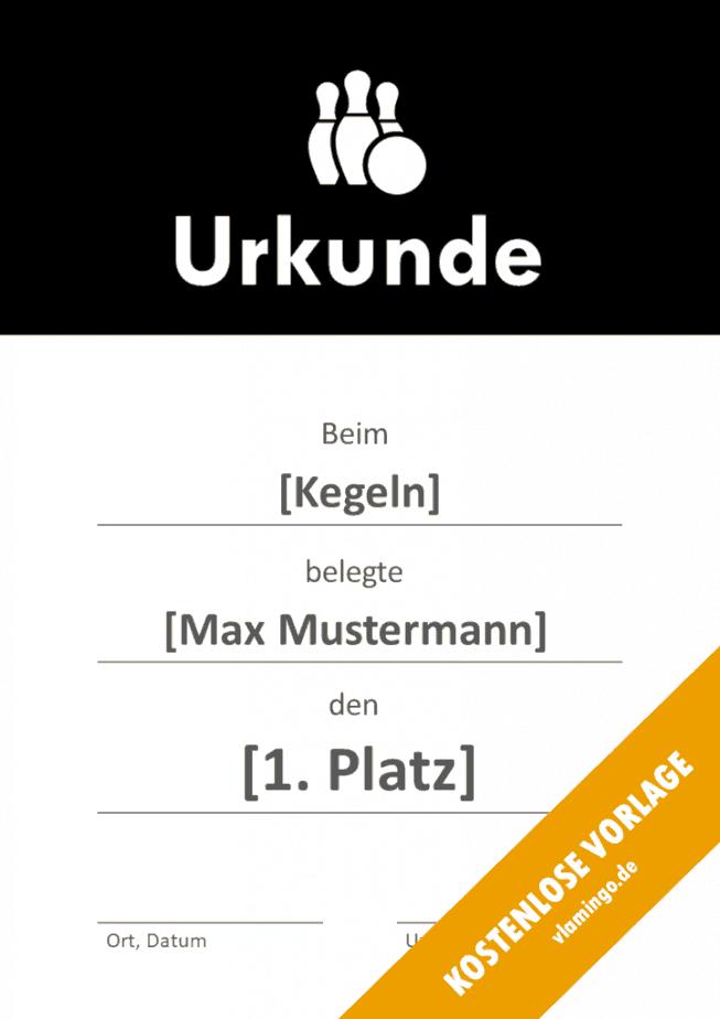 Kegeln - Urkunde - Vorlage - Banner 1