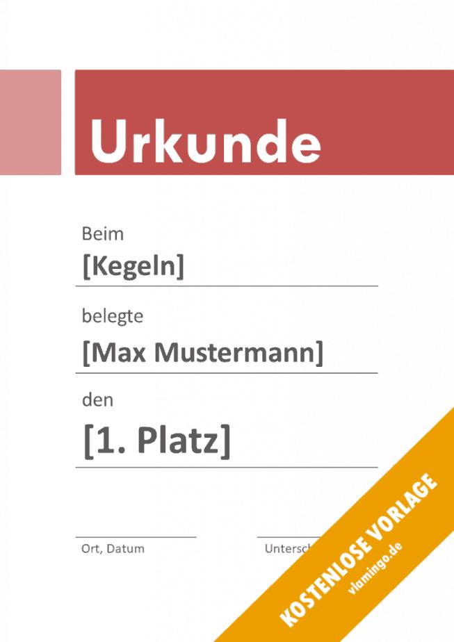 Kegeln - Urkunde - Vorlage - Banner 3
