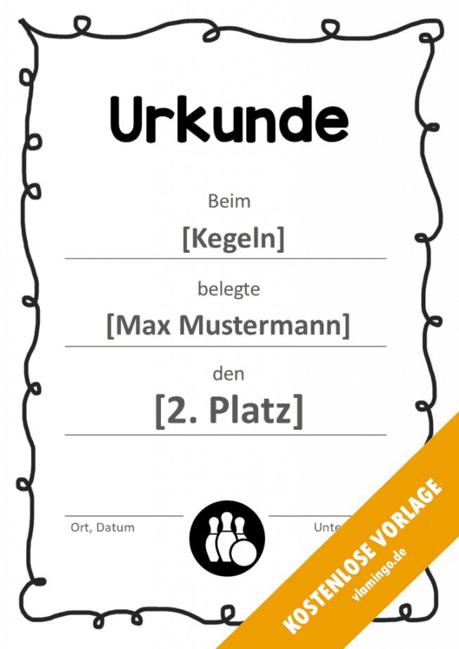 Kegeln - Urkunde - Vorlage - Rahmen 1
